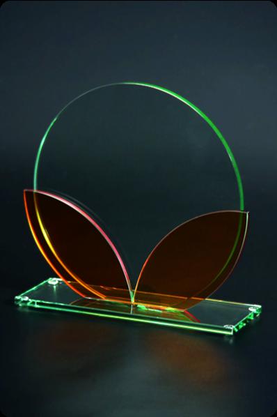 Plakietka szklana z kolorowym szkłem